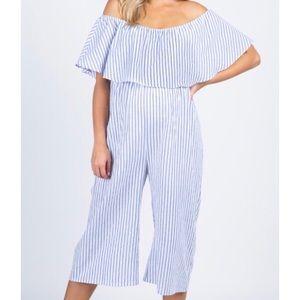 Blue Striped Off Shoulder Maternity Jumpsuit